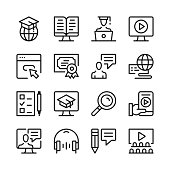 Online learning line icons set. Modern graphic design concepts, simple outline elements collection. Vector line icons