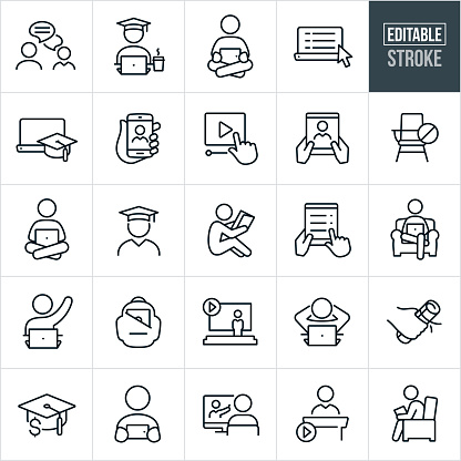 Online Learning Thin Line Icons - Editable Stroke