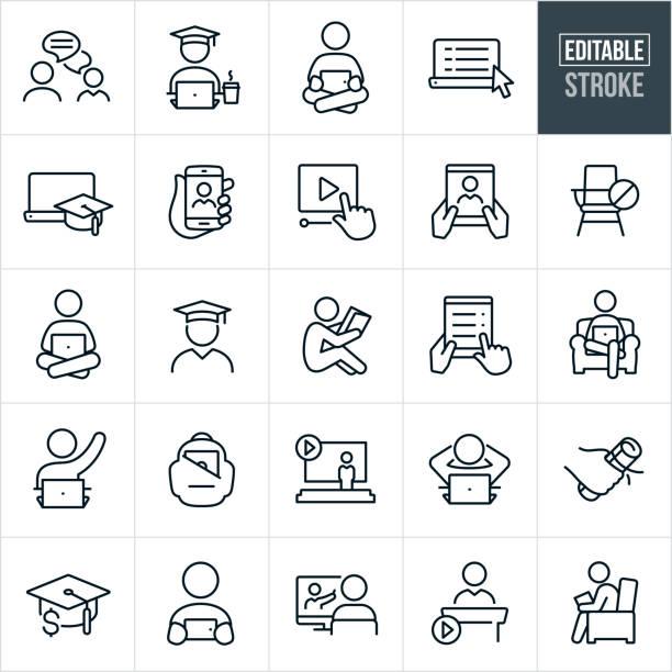 stockillustraties, clipart, cartoons en iconen met pictogrammen voor online leren dunne lijnen - bewerkbare lijn - gemak