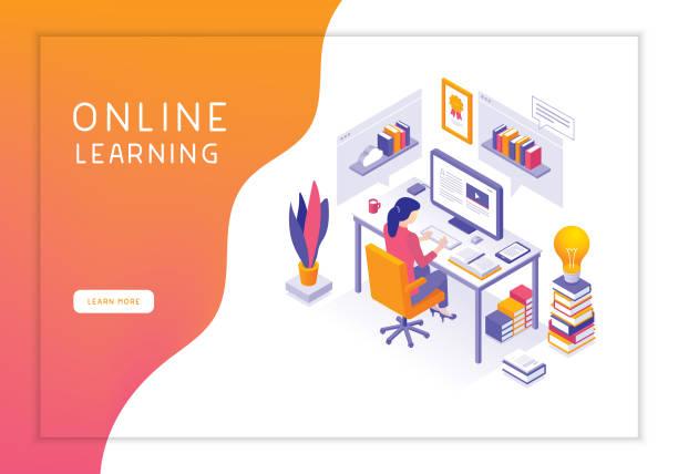 illustrations, cliparts, dessins animés et icônes de formation en ligne - formation des adultes