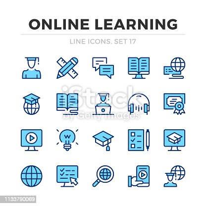 Online learning vector line icons set. Thin line design. Outline graphic elements, simple stroke symbols. Online learning icons