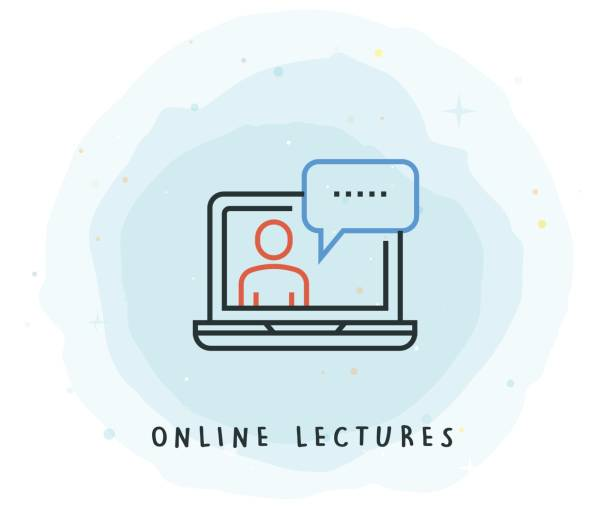 online lectures icon with watercolor patch - webinar stock illustrations