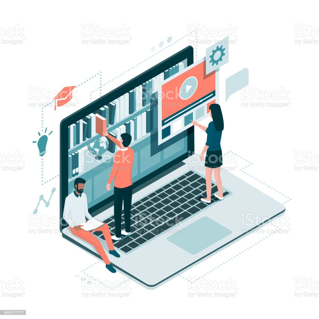 Online library and knowledge People accessing knowledge online on a virtual library on a laptop, education and e-learning concept Accessibility stock vector