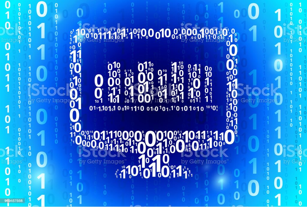 Online Library Binary Code Blue Vector Pattern Background Stock
