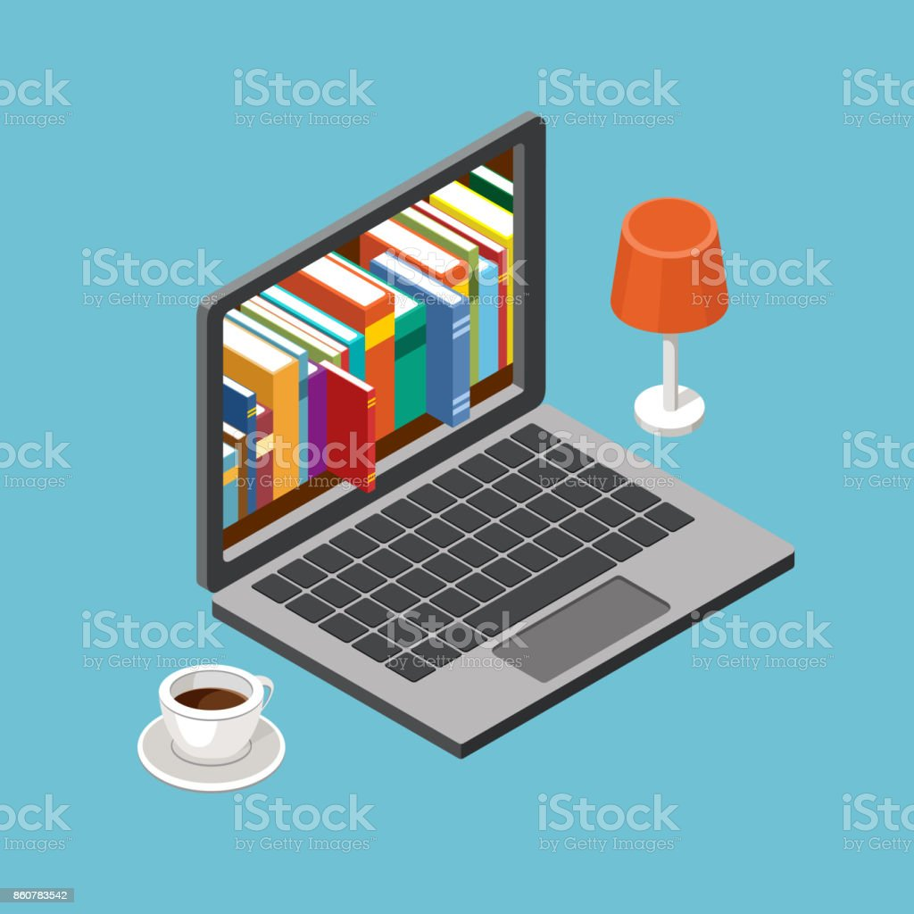 Online library concept, laptop with book shelves vector art illustration