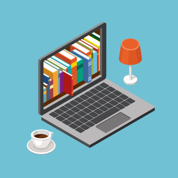 Online library concept, laptop with book shelves Online library concept, laptop with book shelves. Vector illustration encyclopaedia stock illustrations