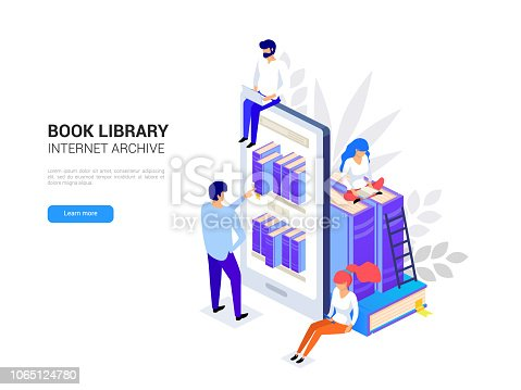 Online library concept. Smartphone with bookshelves. Reading e-books on a phone. Online education isometric. Web archive and e-learning tutorials for social media 3d vector illustration