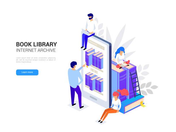 stockillustraties, clipart, cartoons en iconen met concept van de onlinebibliotheek. smartphone met boekenkasten. het lezen van ebooks op een telefoon. online onderwijs isometrische. webarchief en elearning tutorials voor sociale media 3d vectorillustratie - e learning