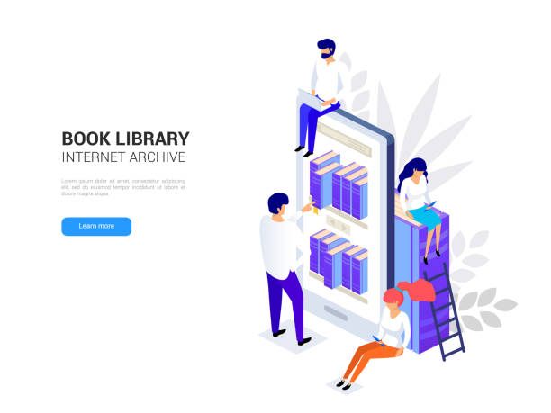 Online library concept. Smartphone with bookshelves. Reading ebooks on a phone. Online education isometric. Web archive and e-learning tutorials for social media 3d vector illustration vector art illustration