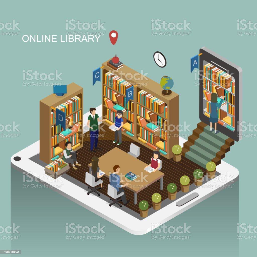 Biblioteca en línea de concepto - ilustración de arte vectorial