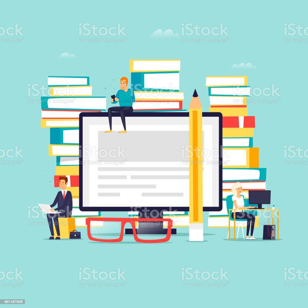 Online-Bibliothek, e-Books. Flaches Design-Vektor-Illustration. – Vektorgrafik