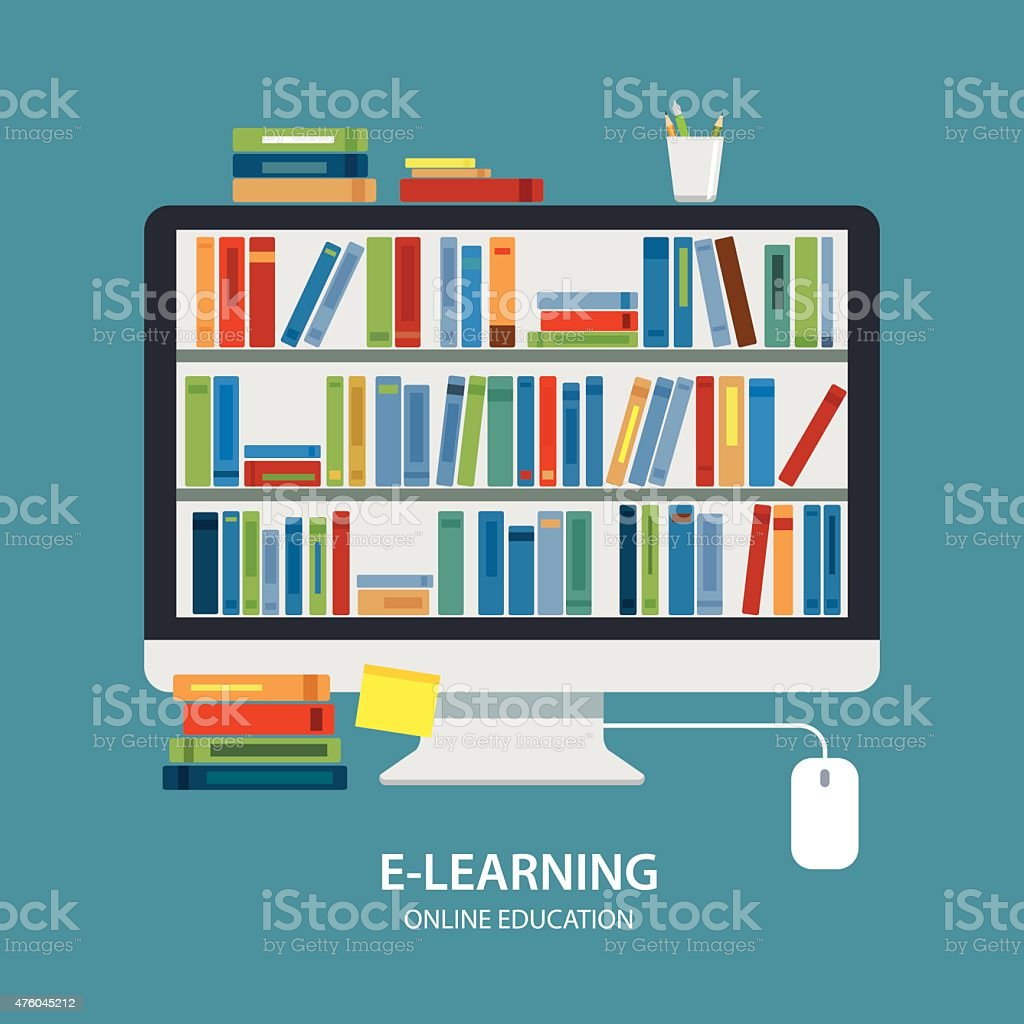 online library education concept flat design vector art illustration