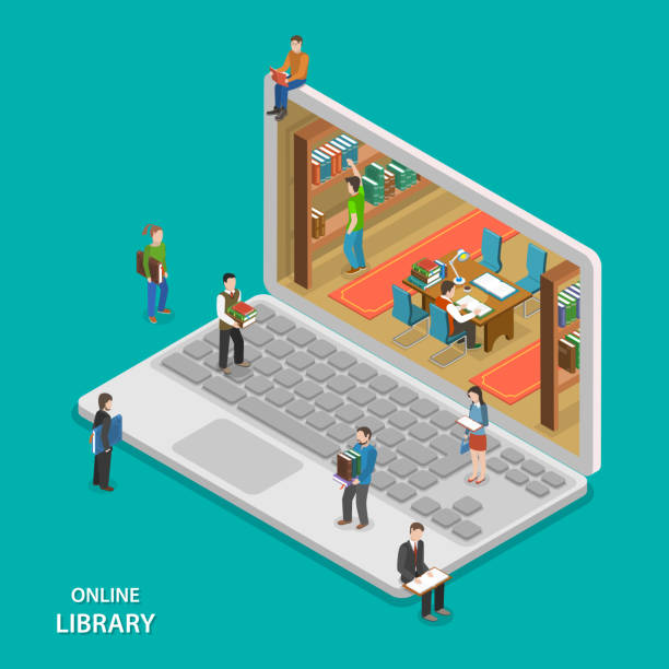 Online library flat isometric vector concept. vector art illustration