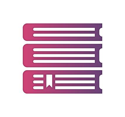 Online Library Gradient Color & Paper-Cut Style Icon Design
