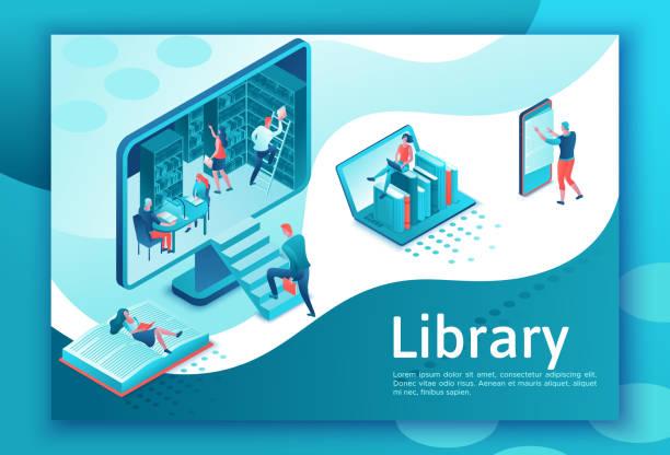 Online-Bibliothek isometrische Zielseite, Menschen lesen Bücher auf Laptop, Smartphone, Gadgets, Cloud Computing Technolodgy, Website-Vorlagen-Design – Vektorgrafik