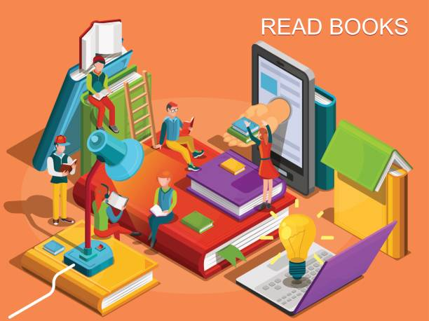 Online library. The process of education, the concept of learning and reading books in the library. University studies. Reading people  Isometric flat design. Vector illustration vector art illustration