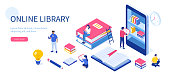 Media book library concept. Can use for web banner, infographics, hero images. Flat isometric vector illustration isolated on white background.