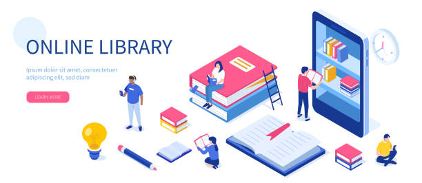 online library - library stock illustrations