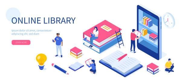 ilustrações, clipart, desenhos animados e ícones de biblioteca on-line - bibliotecas