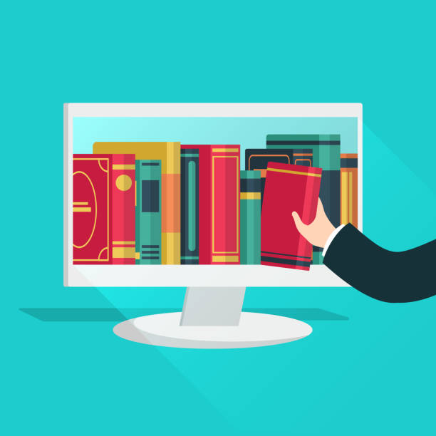 Online library. Website books store learning digital study read ebook catalog education files internet shop device flat vector concept Online library. Website books store learning digital study read ebook catalog education files internet shop device flat vector bookstore concept library catalog stock illustrations