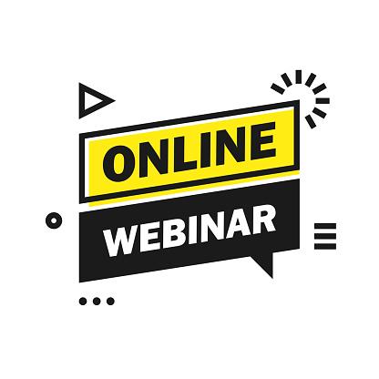 Online Live Webinar Button, label - banner design template. Vector illustration