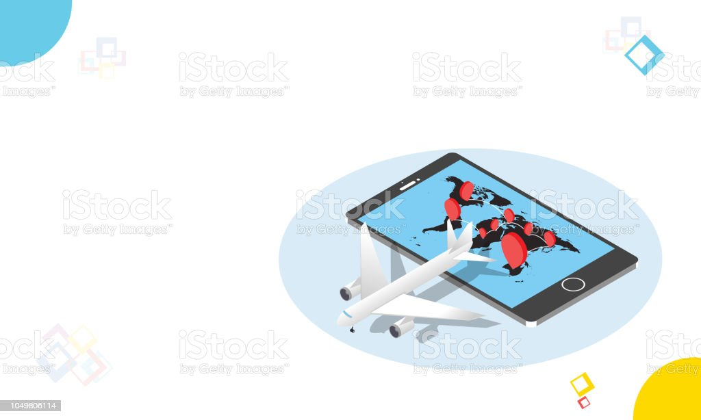 Online Location Tracking System Air Cargo Delivery Isometric