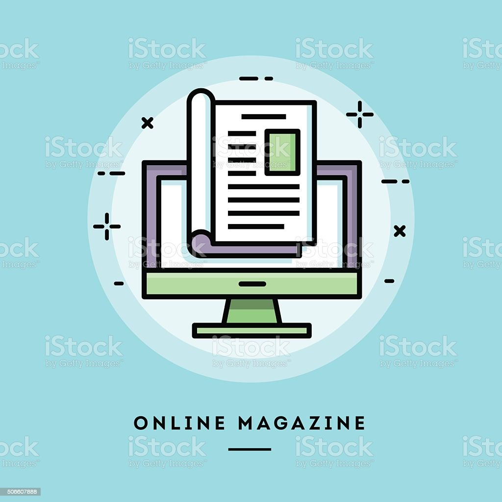 Online magazine, flat design thin line banner vector art illustration
