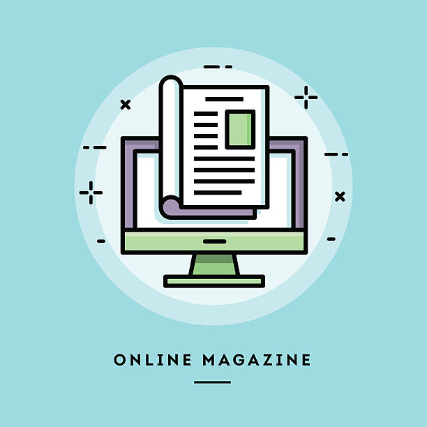 Online magazine, flat design thin line banner Online magazine, flat design thin line banner, usage for e-mail newsletters, web banners, headers, blog posts, print and more magazine publication stock illustrations