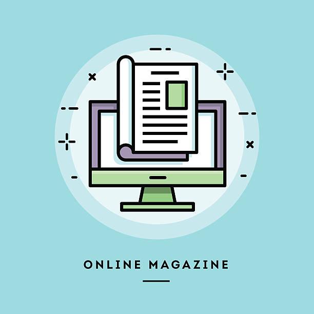 internetowe wydanie magazynu, płaska konstrukcja cienka linia baner - publikacja stock illustrations