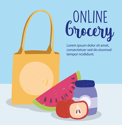 online market, paper bag watermelon apple product, food delivery in grocery store