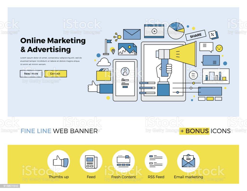 Online marketing flat line banner vector art illustration