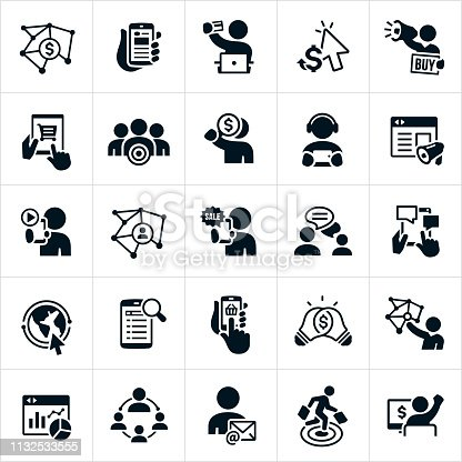 A set of online marketing or digital marketing icons. The icons include marketers, social media, websites, web banners, online advertising, customer making online purchase, pay per click, marketer with megaphone, online shopping cart, bulls-eye on customer, online video, network, online sale, chatting, blogging, online search results, search engine, shopping basket, light bulb, money, online statistics, email and target market to name just a few.