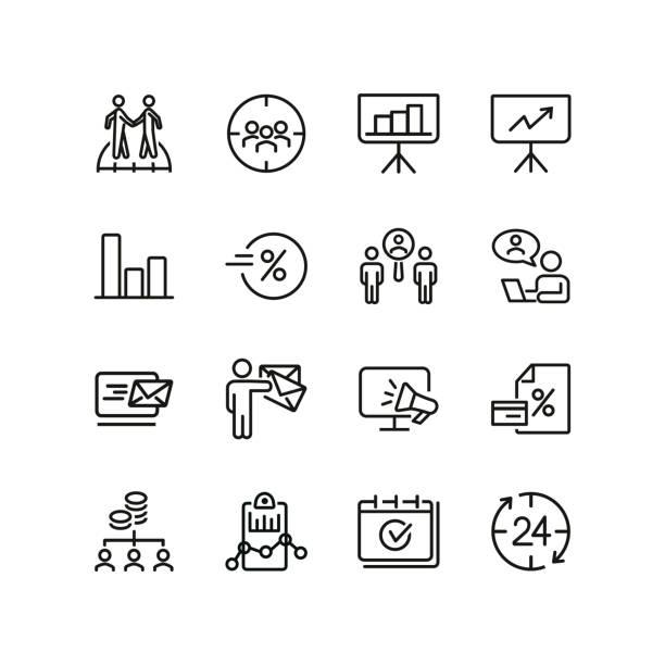 online-marketing-liniensymbolsatz - flipchart stock-grafiken, -clipart, -cartoons und -symbole