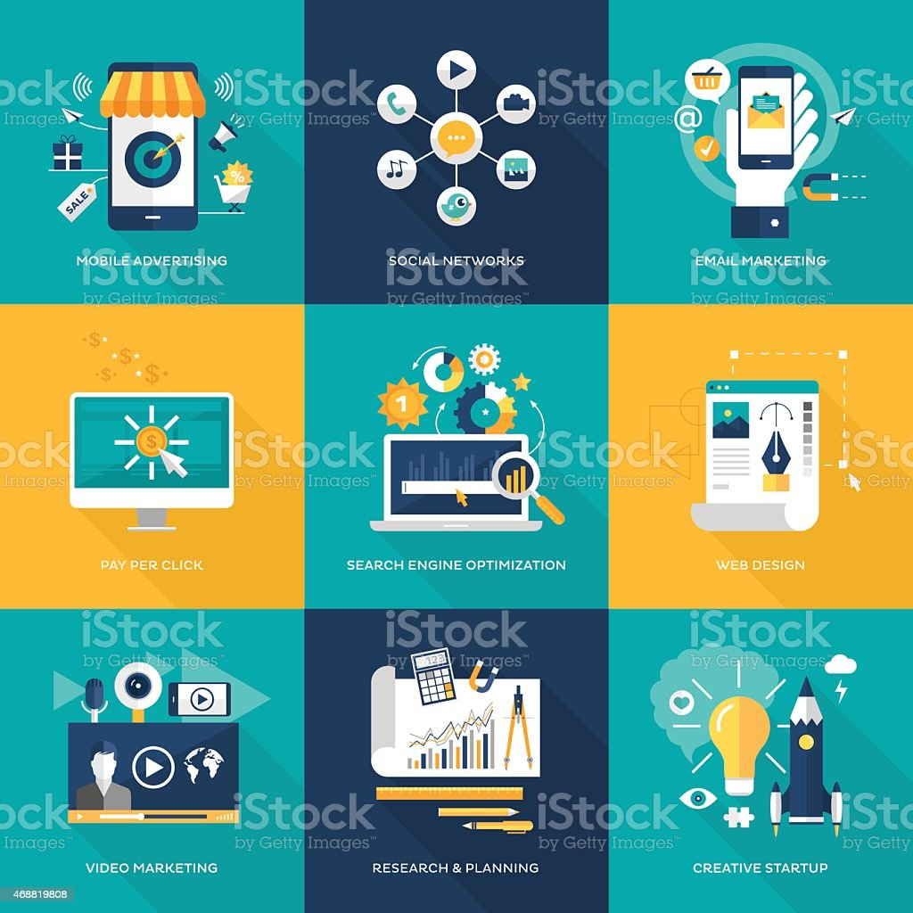 Online marketing vector art illustration