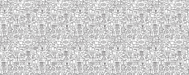 Online Marketplace Seamless Pattern and Background with Line Icons