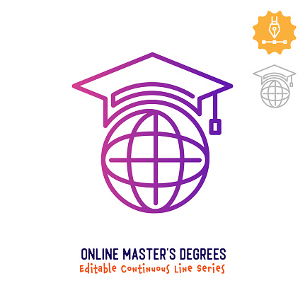 Online Master's Degrees Continuous Line Editable Stroke Icon