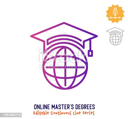 istock Online Master's Degrees Continuous Line Editable Stroke Icon 1264362515