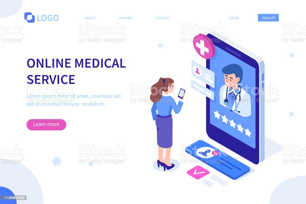 online medical banner - Royalty-free A usar um telefone arte vetorial