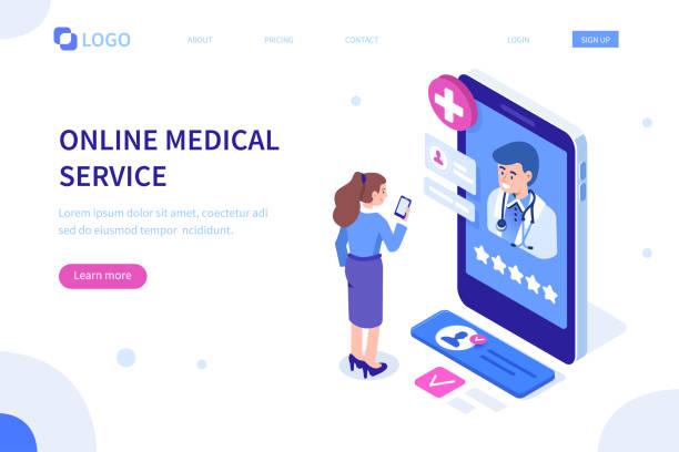 online medical banner - telemedicine stock illustrations