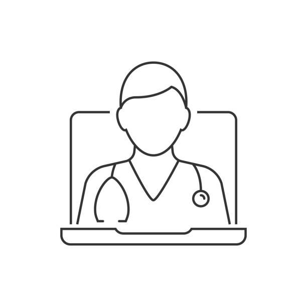 帶聽診器的線上醫療顧問。白色背景上的線條圖示。可編輯描邊向量藝術插圖