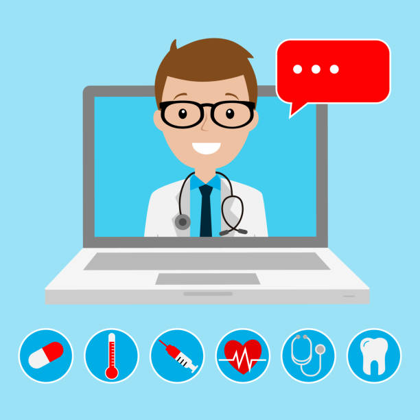 Online medical consultation and support. Online doctor Online medical consultation and support. Online doctor medico stock illustrations