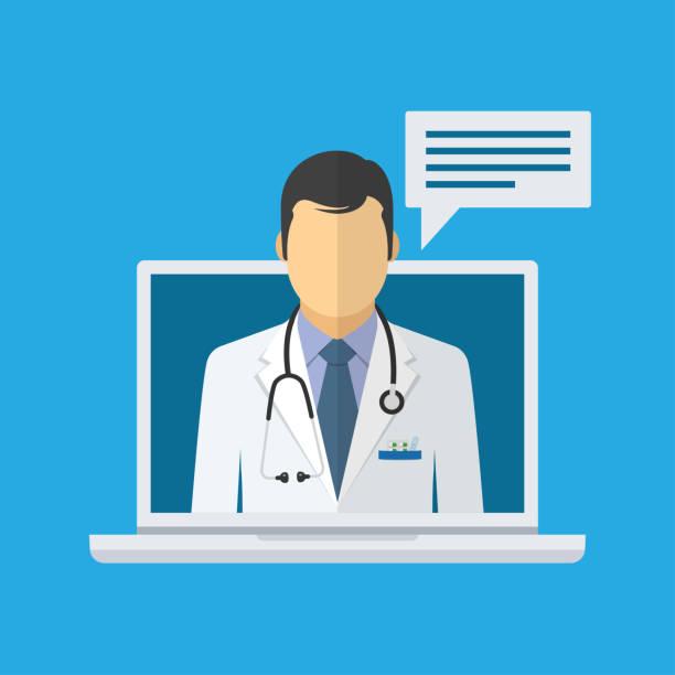 ilustraciones, imágenes clip art, dibujos animados e iconos de stock de consulta médica en línea y apoyo. doctor en línea - telehealth