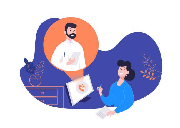 illustrations, cliparts, dessins animés et icônes de concept de consultation médicale en ligne. services de santé. le patient et un médecin professionnel lors d'une réunion en ligne. conception d'un site médical - visioconférence