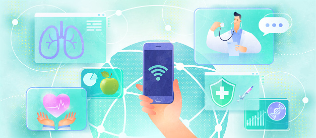 Online medical consultation design concept. User video calling a doctor and connecting medical services via smartphone, global network, and wi-fi. Healthcare and technology vector illustration.