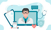 istock Online medical consultation or Doctor online concept .Concept for medical app and websites. Flat vector illustration. 1206101284