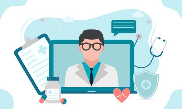 ilustraciones, imágenes clip art, dibujos animados e iconos de stock de consulta médica en línea o concepto de doctor en línea. concepto para aplicaciones médicas y sitios web. ilustración vectorial plana. - telehealth