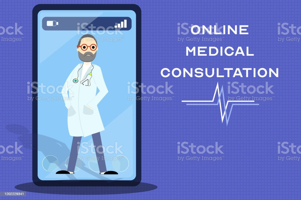 線上醫療諮詢服務,移動應用開發。智慧手機螢幕上帶有複製空間的醫生插圖 - 免版稅互聯網圖庫向量圖形