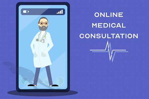 線上醫療諮詢服務移動應用開發智慧手機螢幕上帶有複製空間的醫生插圖向量圖形及更多互聯網圖片