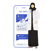 Online medical consultation smartphone vector app screen. Remote doctor appointment. Mobile phone displays with cartoon characters mockup. Chat with medical specialist. Application telephone interface
