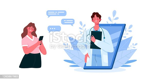 Online medical consultation, support. Online doctor. Healthcare services. Family male doctor with stethoscope on smartphone. Online medical advise or consultation service, tele medicine, cardiology